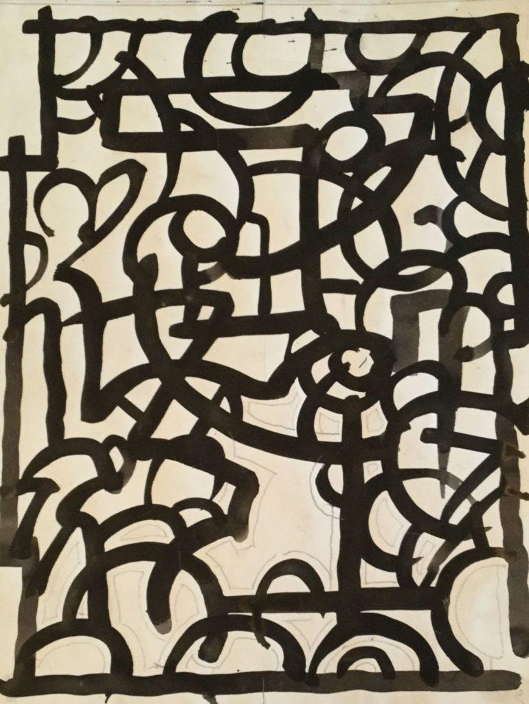 Kunst te koop bij Galerie Wijdemeren van kunstschilder Gerard Huysser Abstracte voorstelling inkt op papier, 32 x 24.5 cm rechtsonder gesigneerd