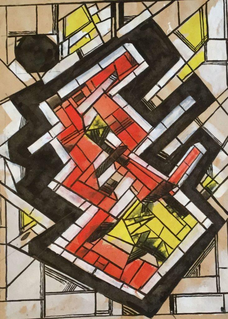 Kunst te koop bij Galerie Wijdemeren van kunstschilder Gerard Huysser Glas in lood gemengde techniek, 29 x 21cm rechtsonder gesigneerd