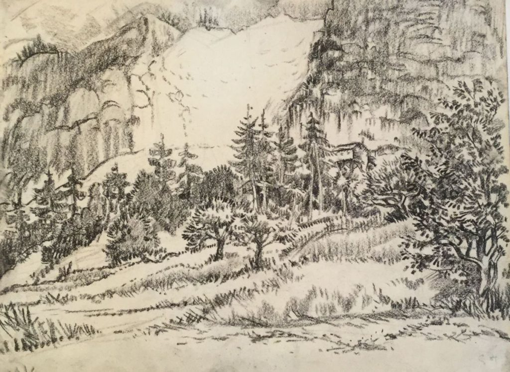 Kunst te koop bij Galerie Wijdemeren van kunstschilder Gerard Huysser Bosgezicht langs de bergen houtskool op papier, 24 x 31.5 cm rechtsonder gesigneerd