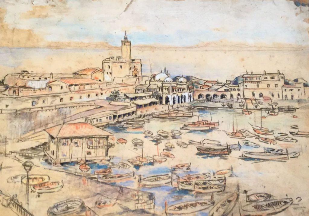 Kunst te koop bij Galerie Wijdemeren van kunstschilder Gerard Huysser Zicht over Mediterrane stad gemengde techniek op papier, 31 x 44 cm rechtsonder gesigneerd