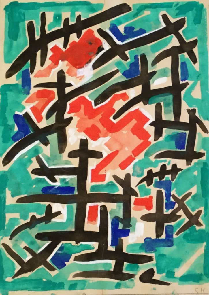 Kunst te koop bij Galerie Wijdemeren van Kunstschilder Gerard Huysser Abstracte voorstelling gemengde techniek op papier, 30 x 21.5 cm rechtsonder gesigneerd