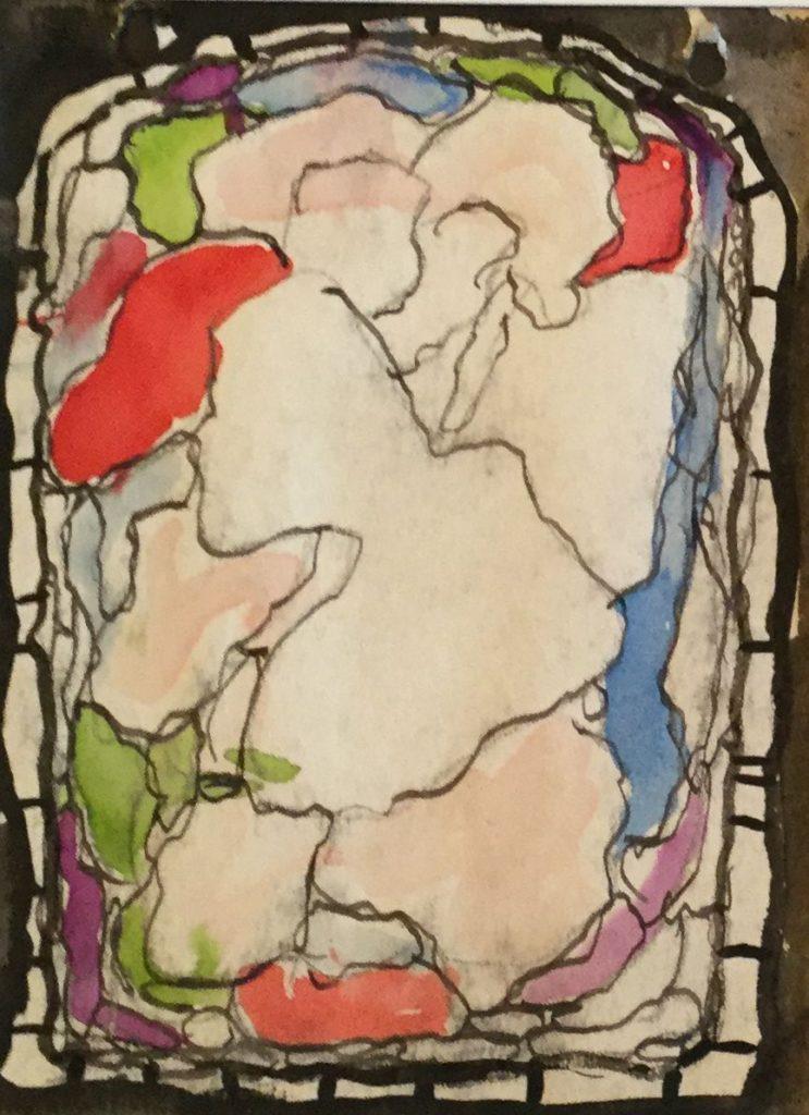 Kunst te koop bij Galerie Wijdemeren van kunstschilder Gerard Huysser Abstracte voorstelling inkt en aquarel op papier, 15.5 x 11.5 cm