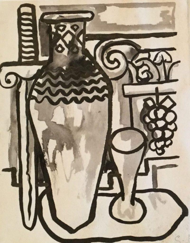 Kunst te koop bij Galerie Wijdemeren van kunstschilder Gerard Huysser Stilleven Oost-Indische inkt op papier, 16.5 x 13 cm rechtsonder gesigneerd