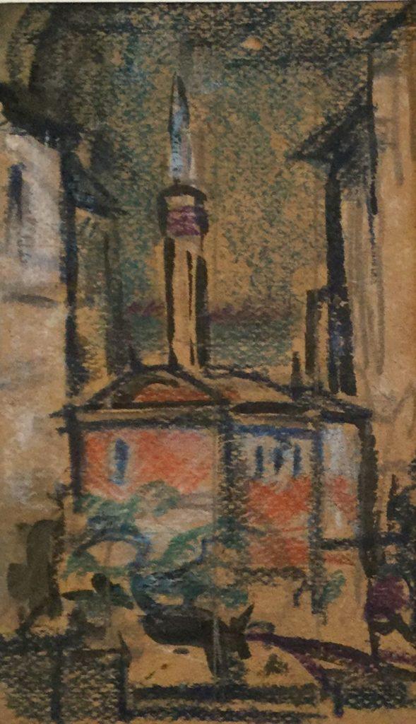 Kunst te koop bij Galerie Wijdemeren van Kunstschilder Gerard Huysser Moskee gemengde techniek op karton, 17 x 10 cm