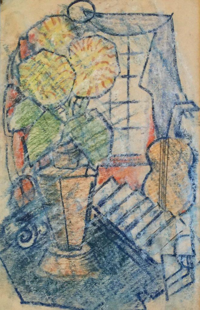 Kunst te koop bij Galerie Wijdemeren van kunstschilder Gerard Huysser Bloemstilleven met cello op de achtergrond pastel op papier, 20.5 x 13.5 cm