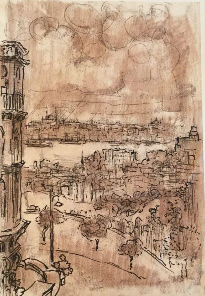 Kunst te koop bij Galerie Wijdemeren van kunstschilder Gerard Huysser Uitzicht over Mediterrane stad pentekening met sepia inkt op papier, 24.5 x 17 cm rechtsonder gesigneerd