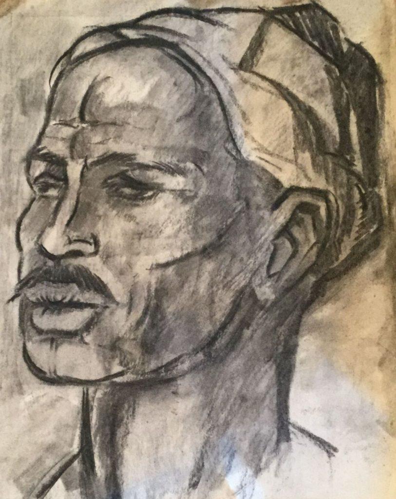 Kunst te koop bij Galerie Wijdemeren van kunstschilder Gerard Huysser Portret van een man houtskool op papier, 35.5 x 38 cm
