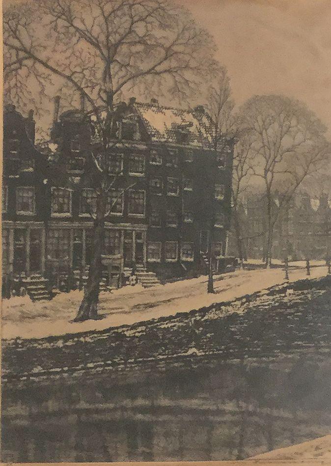 schilderijen te koop van kunstschilder, Cornelis Brandenburg stadsgezciht in de winter ets, rechtsonder handgesigneerd linksonder in ets gedateerd 1913 beeldmaat 34 x 24.5 cm, expositie, galerie wijdemeren breukeleveen