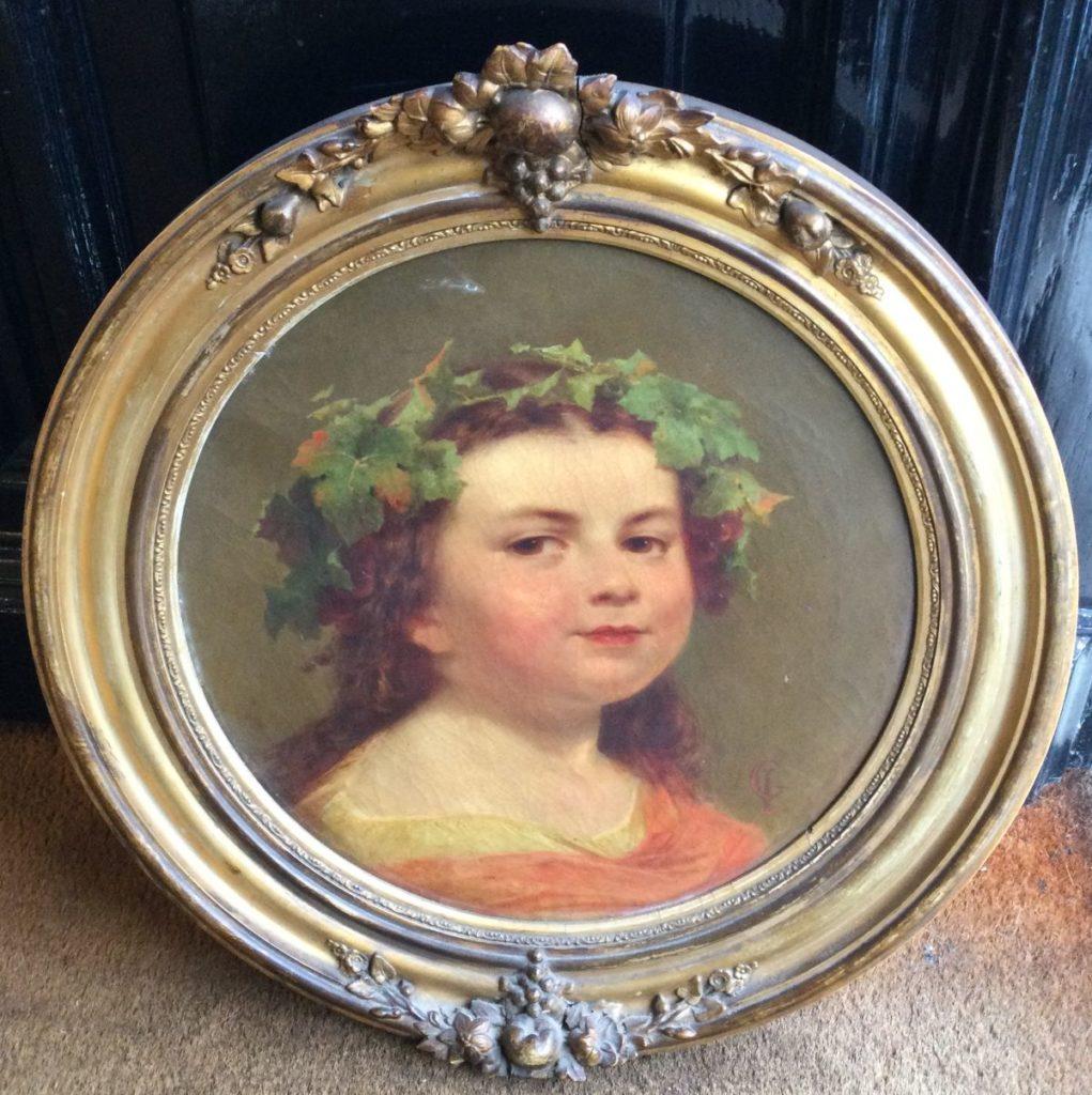 Schilderijen te koop, portret van een kind olie op doek, rond, diameter doek 34 cm gesigneerd monogram G.I., expositie Galerie Wijdemeren Breukeleveen