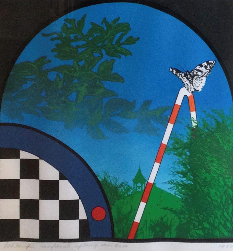 Schilderijen te koop van kunstschilder Bob Kemper Vlinder zeefdruk, beeldmaat 36.5 x 35 cm linksonder gesigneerd rechtsonder gedateerd 1980, oplage l.o. 10/100, Expositie Galerie Wijdemeren Breukeleveen