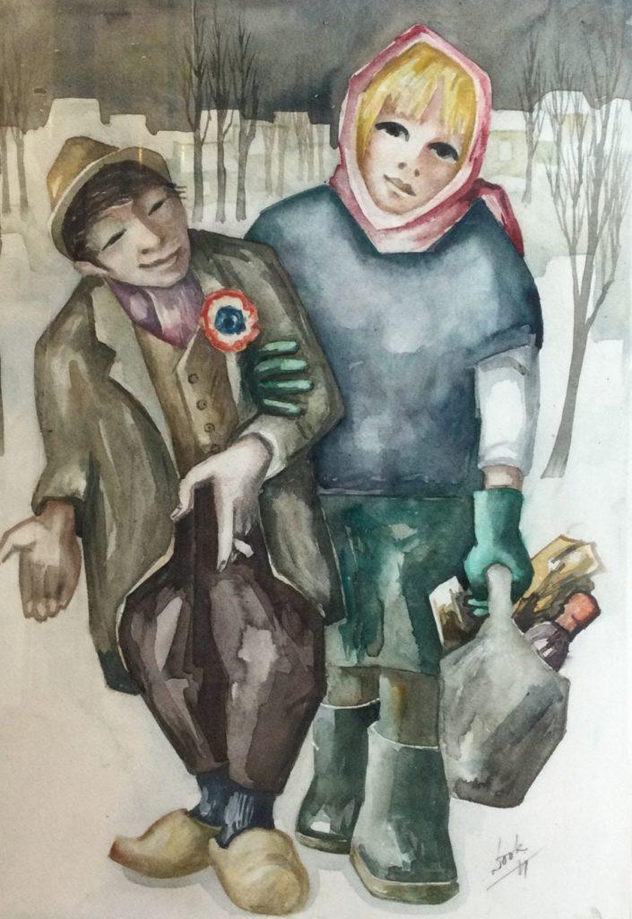 Schilderijen te koop, twee figuren in winters landschap aquarel op papier, beeldmaat 75 x 54 cm rechtsonder gesigneerd, Expositie Galerie Wijdemeren Breukeleveen