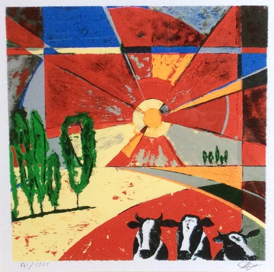 Schilderijen te koop, kunstschilder Ingo Leth Landschap met koeien en zonneschijn zeefdruk, beeldmaat 22 x 22 cm, rechtsonder handgesigneerd linksonder oplage 771/1325, Expositie Galerie Wijdemeren Breukeleveen