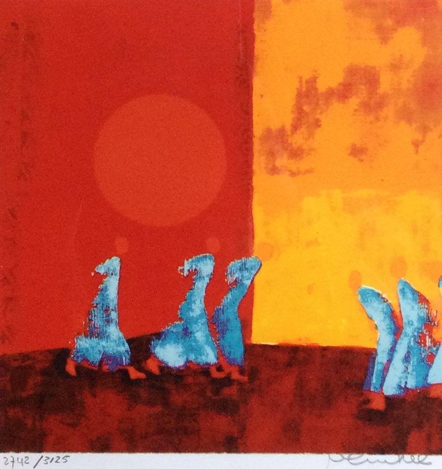Schilderijen te koop, kunstschilder Marjolijn van Ginkel abstracte voorstelling zeefdruk, beeldmaat 22 x 22 cm rechtsonder gesigneerd linksonder oplage 2742/3125, expositie Galerie Wijdemeren Breukeleveen