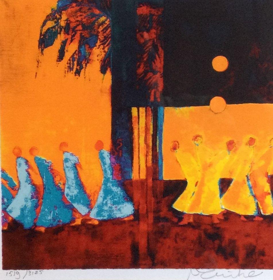 Schilderijen te koop, kunstschilder Marjolijn van Ginkel voorstelling met figuren zeefdruk, beeldmaat 22 x 22 cm rechtsonder gesigneerd linksonder oplage 1519/3125, expositie Galerie Wijdemeren Breukeleveen