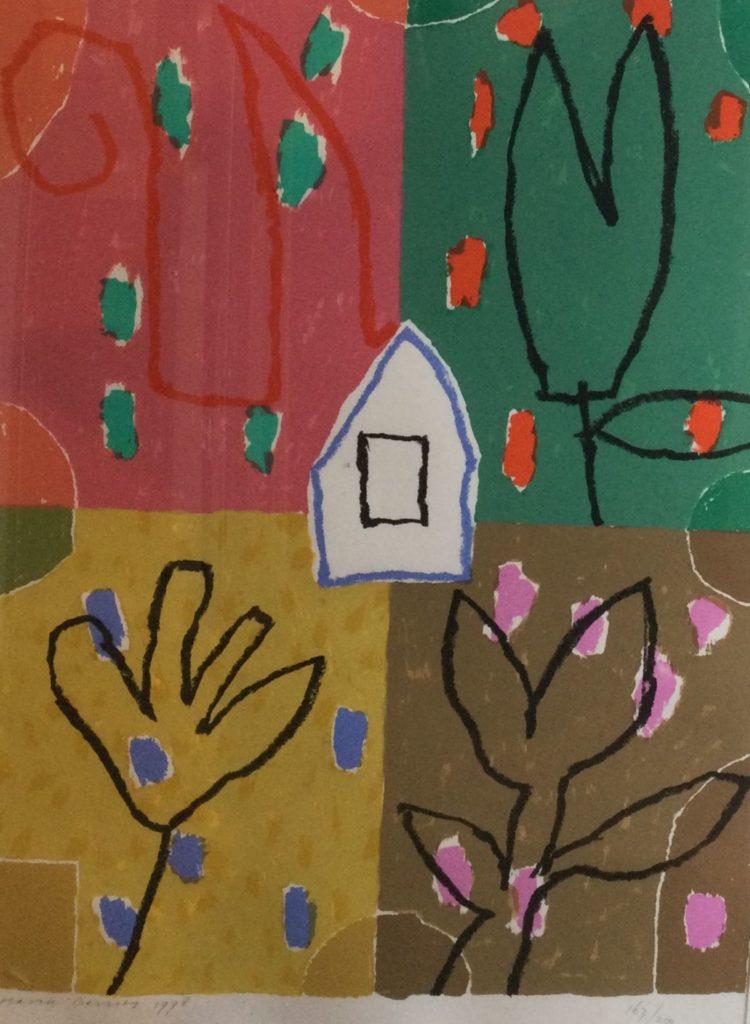 Schilderijen te koop, kunstschilder Harrie Gerritz huisje zeefdruk, beeldmaat 67 x 48 cm linksonder gesigneerd en gedateerd 1998 rechtsonder oplage 167/200, expositie Galerie Wijdemeren Breukeleveen