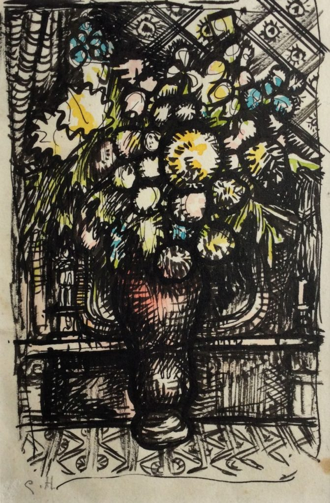 Kunst te koop bij Galerie Wijdemeren van kunstschilder Gerard Huysser Bloemstilleven pen en aquarel op papier, 13.5 x 9 cm linksonder gesigneerd