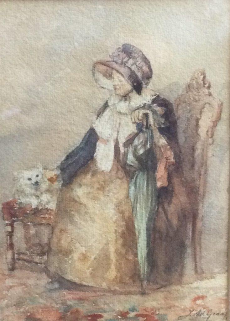 Schilderijen te koop, kunstschiJ.A. de Graaf Dame met haar hondje aquarel op papier, beeldmaat 23.5 x 17 cm rechtsonder gesigneerd, expositie Galerie Wijdemeren Breukeleveen
