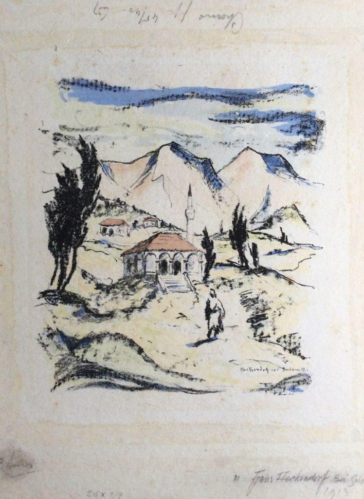 schilderijen te koop van kunstschilder, Frans Heckendorf Kerkje in het bergdal litho, beeldmaat 30 x 25 cm rechtsonder gesigneerd en gedateerd 1913, expositie, galerie wijdemeren breukeleveen