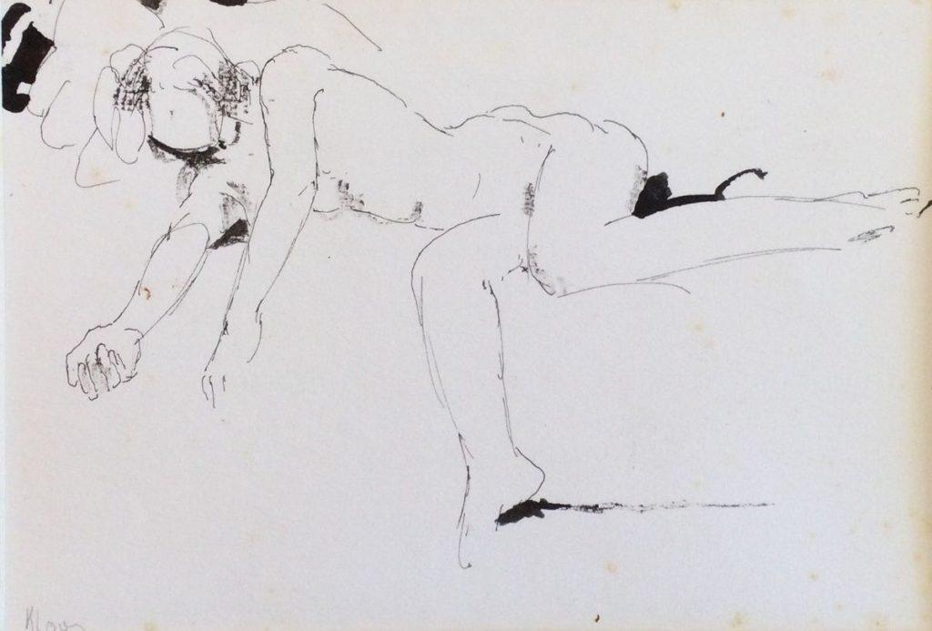 schilderijen te koop van kunstschilder, Cornelis Kloos naaktmodeltekening inkttekening, beeldmaat 13 x 19 cm linksonder handgesigneerd, expositie, galerie wijdemeren breukeleveen