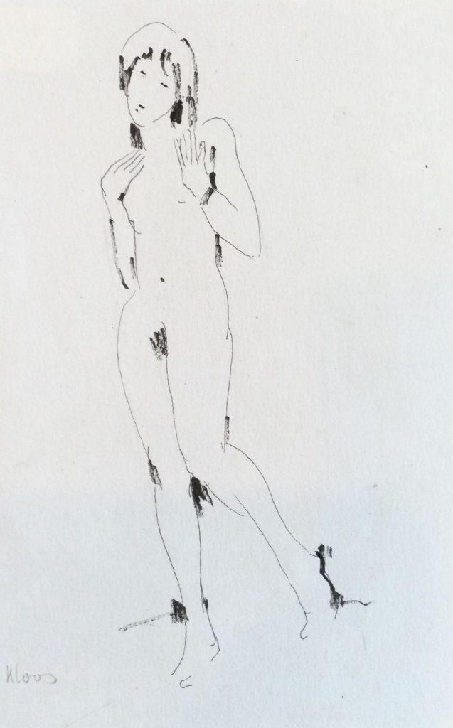 schilderijen te koop van kunstschilder, Cornelis Kloos naaktmodeltekening inkttekening, papiermaat 25 x 16 cm linksonder handgesigneerd, expositie, galerie wijdemeren breukeleveen