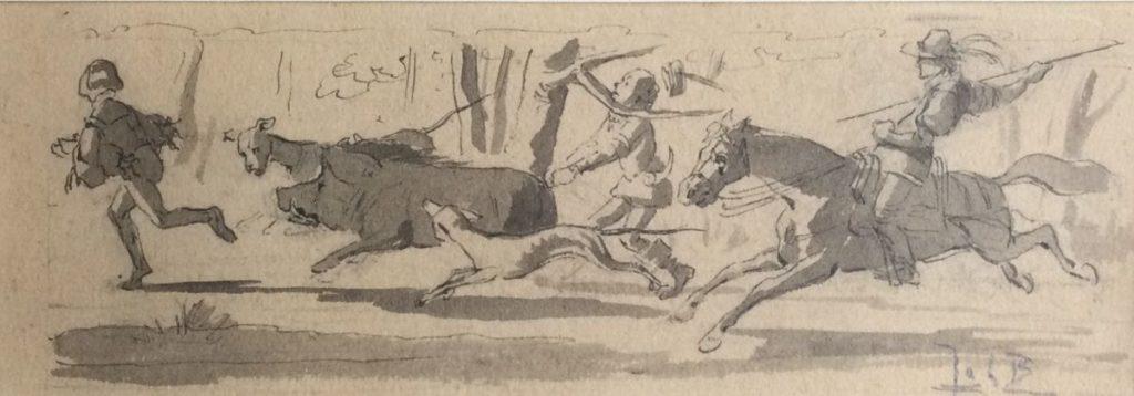Schilderijen te koop, Jachttafereel Oost-Indische inkt op papier, beeldmaat 6 x 17.5 cm rechtsonder gesigneerd Joh. B., expositie Galerie Wijdemeren Breukeleveen
