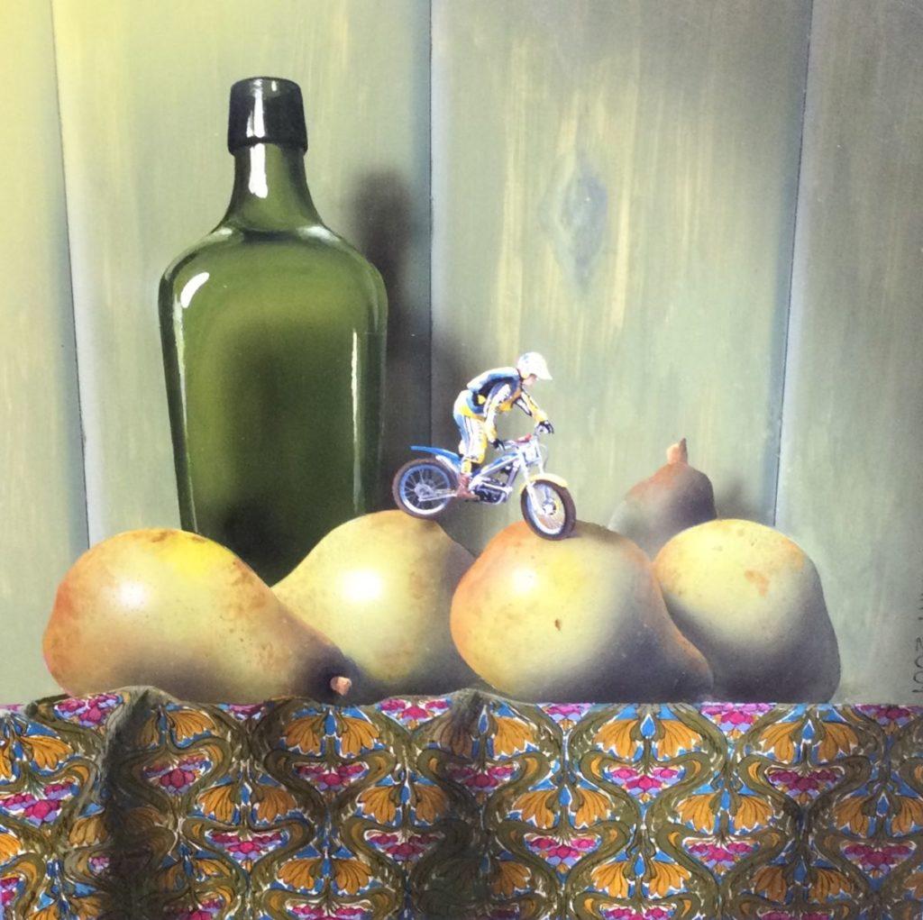 Schilderijen te koop, kunstschilder Aart Kessel Perenrijder olie op paneel, paneelmaat 30 x 30 cm langs rechter zijde gesigneerd en gedateerd 2001, expositie Galerie Wijdemeren Breukeleveen