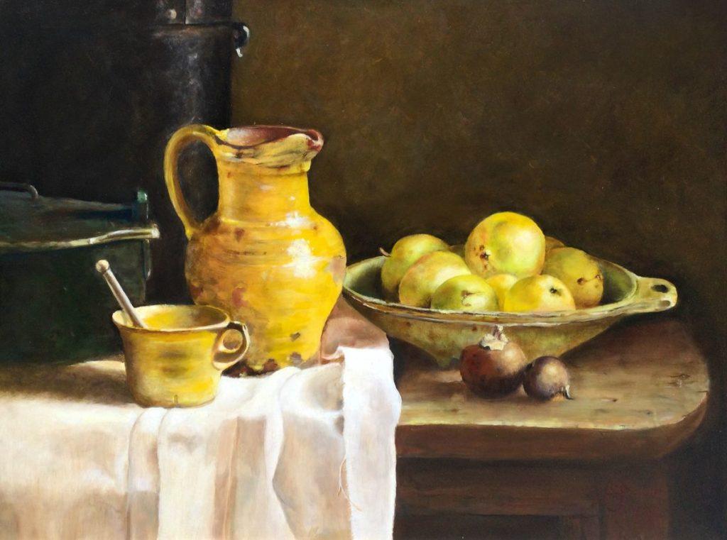 Schilderijen te koop bij Galerie Wijdemeren van kunstschilder Arnold Pieterse Keukenstilleven olie op paneel, 60 x 80 cm rechtsonder gesigneerd