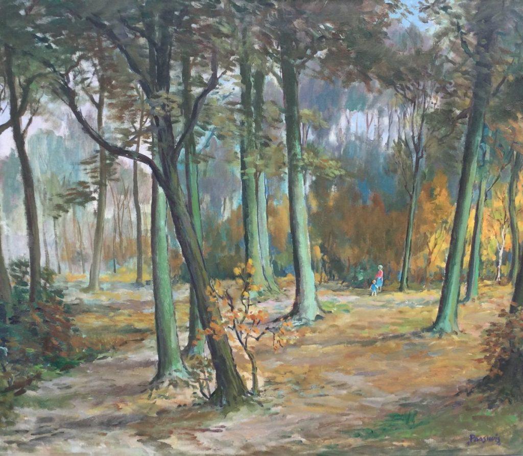 Schilderijen te koop, bosgezicht olie op doek, doekmaat 82 x 96 cm rechtsonder gesigneerd, Paashuis, expositie Galerie Wijdemeren Breukeleveen