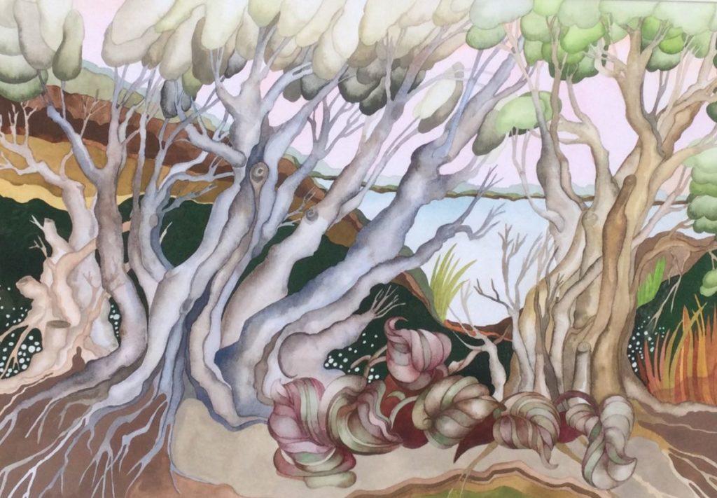 Schilderijen te koop, kunstschilder Maryna Sörska Kobulinska Bosgezicht gemengde techniek op papier, beeldmaat 42.5 x 62 cm linksonder gesigneerd en gedateerd 2000, expositie Galerie Wijdemeren Breukeleveen