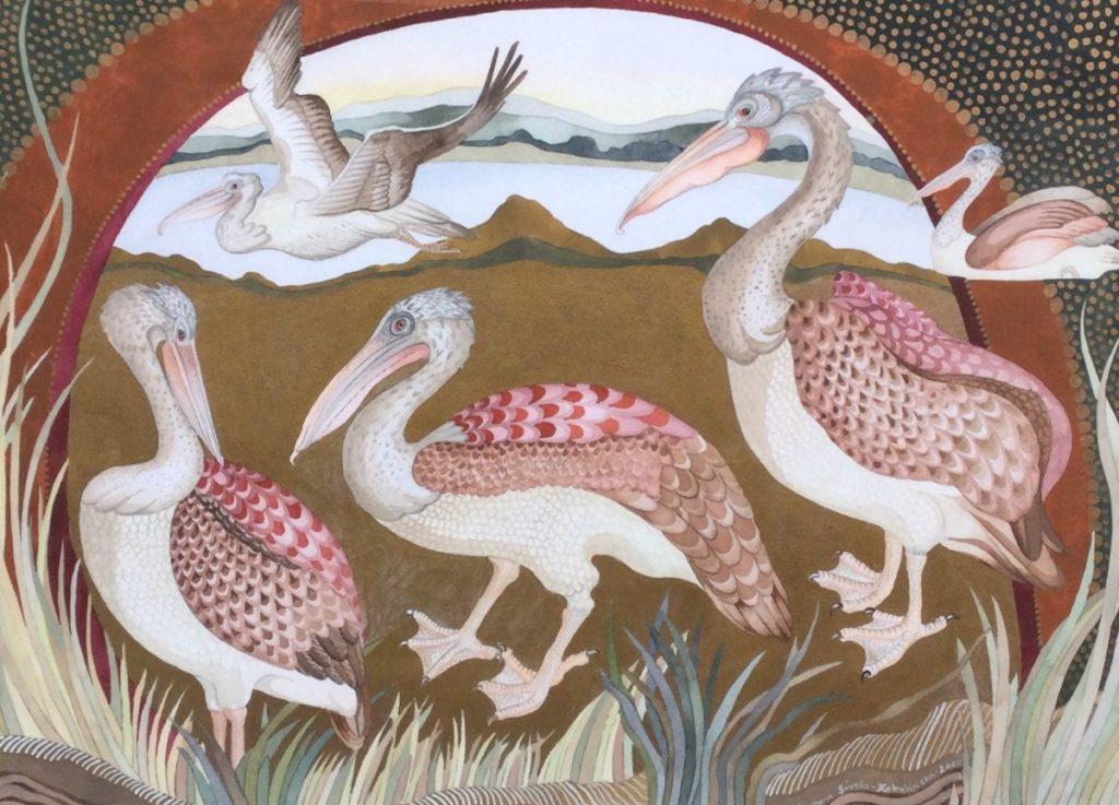 Schilderijen te koop, kunstschilder Maryna Sörska Kobulinska Pelikanen gemengde techniek op papier, beeldmaat 43 x 60 cm rechtsondergesigneerd en gedateerd 2000, expositie Galerie Wijdemeren Breukeleveen