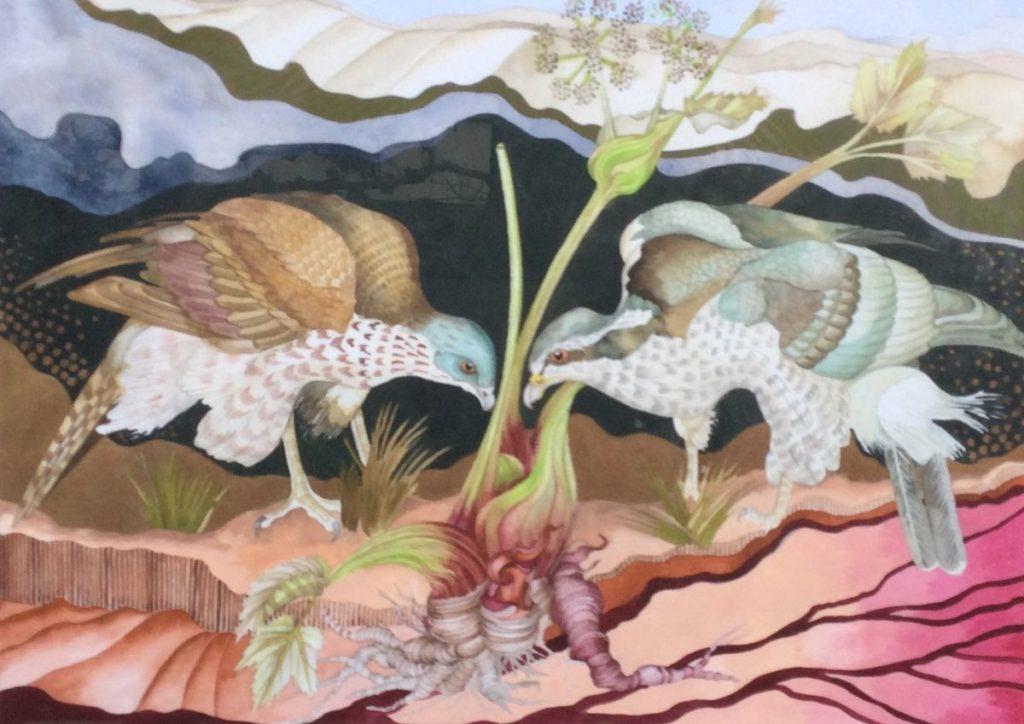 Schilderijen te koop, kunstschilder Maryna Sörska Kobulinska Haviken gemengde techniek op papier, beeldmaat 43 x 60.5 cm linksonder gesigneerd en gedateerd 2000, expositie Galerie Wijdemeren Breukeleveen
