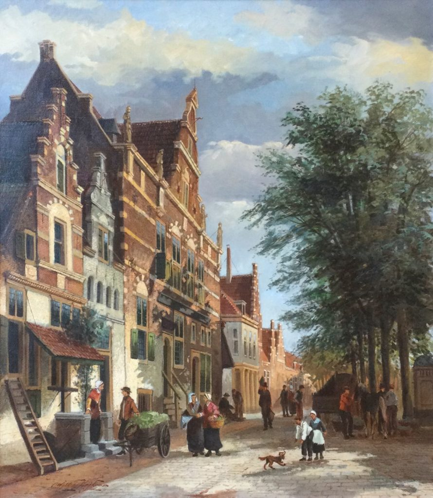 Schilderijen te koop bij Galerie Wijdemeren van kunstschilder Willem Heijkoop Stadsgezicht olie op doek, 80.5 x 70.5 cm linksonder gesigneerd