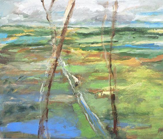 Kunst te koop bij galerie Wijdemeren van kunstschilder Lenie Arntzen Rivierenland acryl op doek, 110 x 90 cm rechtsonder gesigneerd