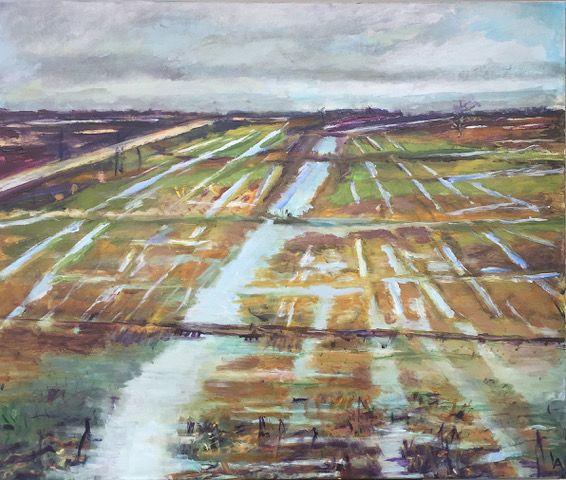 Kunst te koop bij Galerie Wijdemeren van kunstschilder Lenie Arntzen Polder acryl op doek, 110 x 90 cm rechtsonder gesigneerd