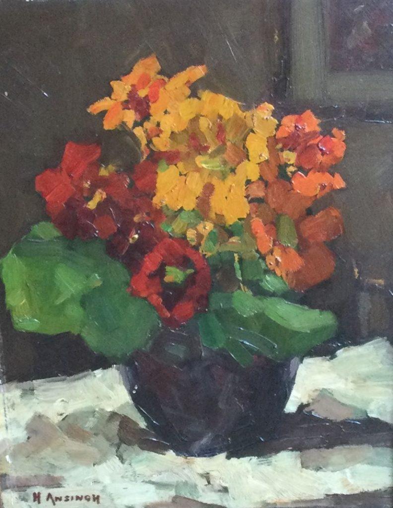 Kunst te koop bij galerie Wijdemeren van kunstschilder Herman Johannes Ansingh Stilleven olie op paneel, 25 x 19 cm linksonder gesigneerd