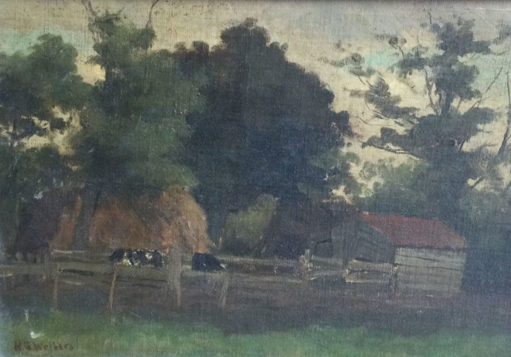 Kunst te koop bij Galerie Wijdemeren van kunstschilder H.G. Wolbers Koeien bij de boerderij marouflé, 25.5 x 35.5 cm linksonder gesigneerd