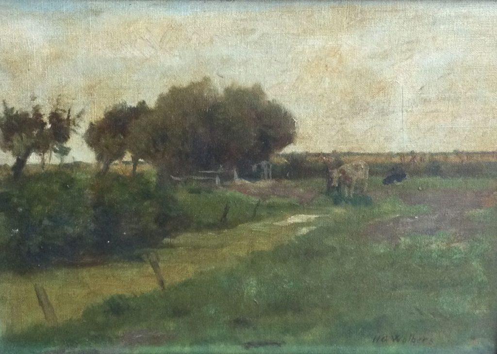 Kunst te koop bij Galerie Wijdemeren van kunstschilder H.G. Wolbers Landschap met koeien marouflé, 25.5 x 36 cm rechtsonder gesigneerd