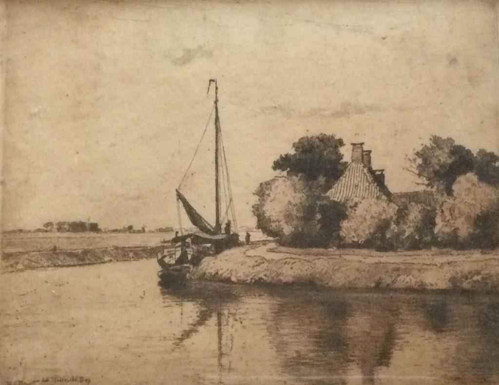 Kunst te koop bij Galerie Wijdemeren vanH.E. Roodenburg Hoornsche Diep Groningen ets, beeldmaat 18.5 x 23 cm rechtsonder handgesigneerd en gedateerd '18, linksonder oplage 2/100