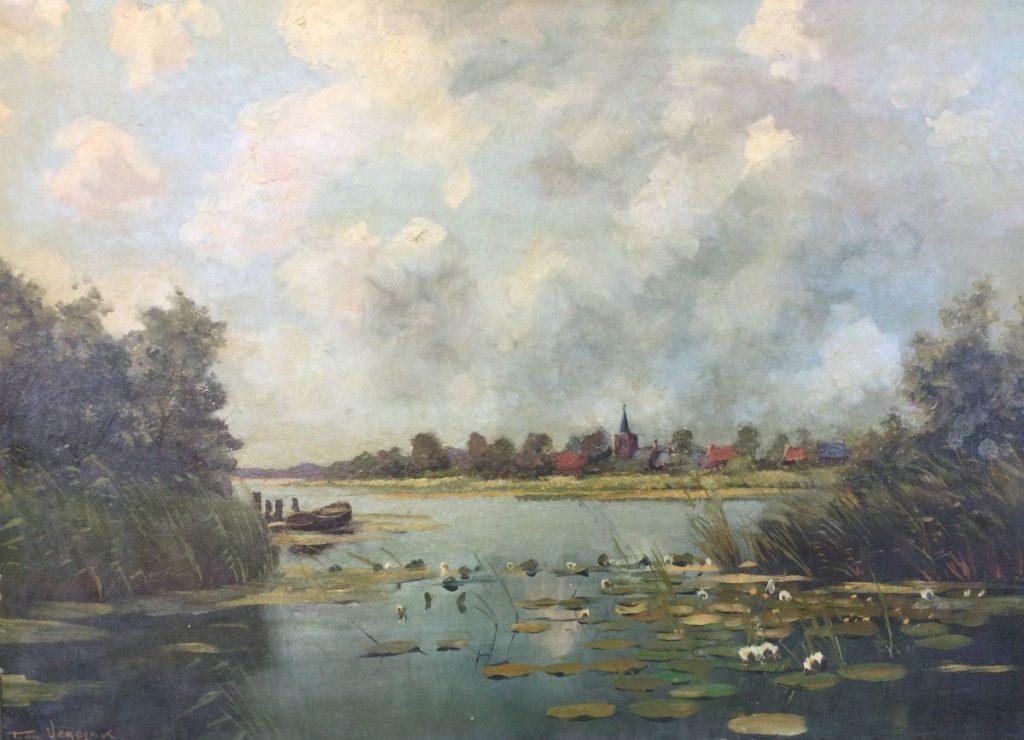 Kunst te koop bij Galerie Wijdemeren van kunstschilder Toon Verplak Zicht op kerk van Kortenhoef olie op doek, 50 x 70 cm linksonder gesigneerd