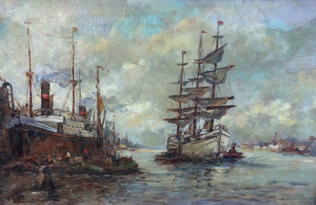 schilderijen te koop van kunstschilder, Johannes Pietersen Rotterdamse haven olie op doek, linksonder gesigneerd, expositie, galerie wijdemeren breukeleveen