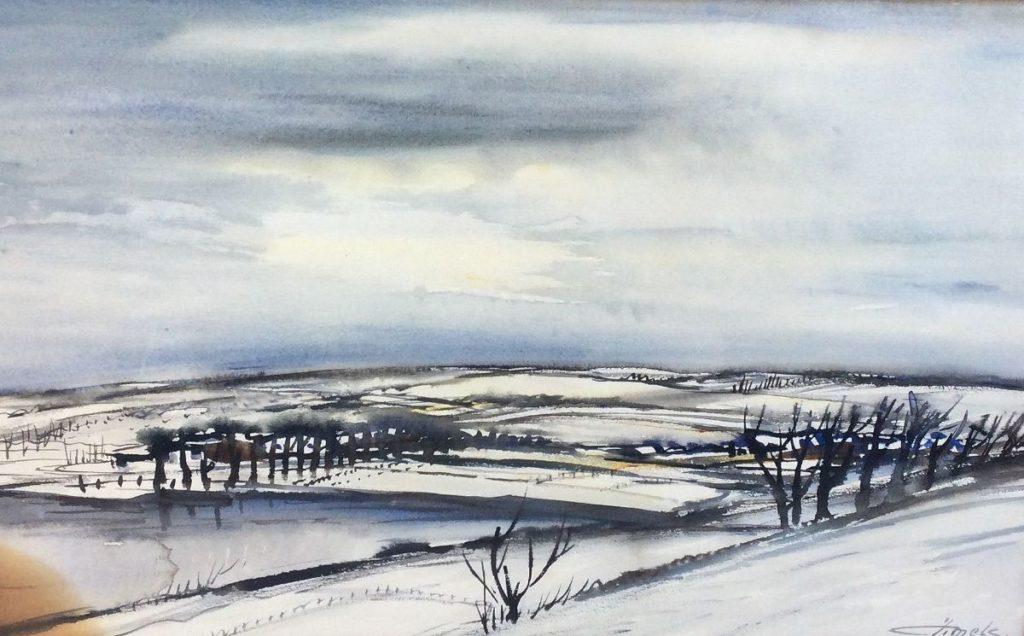 schilderijeJacques Mels winters landschap aquarel, rechtsonder gesigneerd, expositie, galerie wijdemeren breukeleveen
