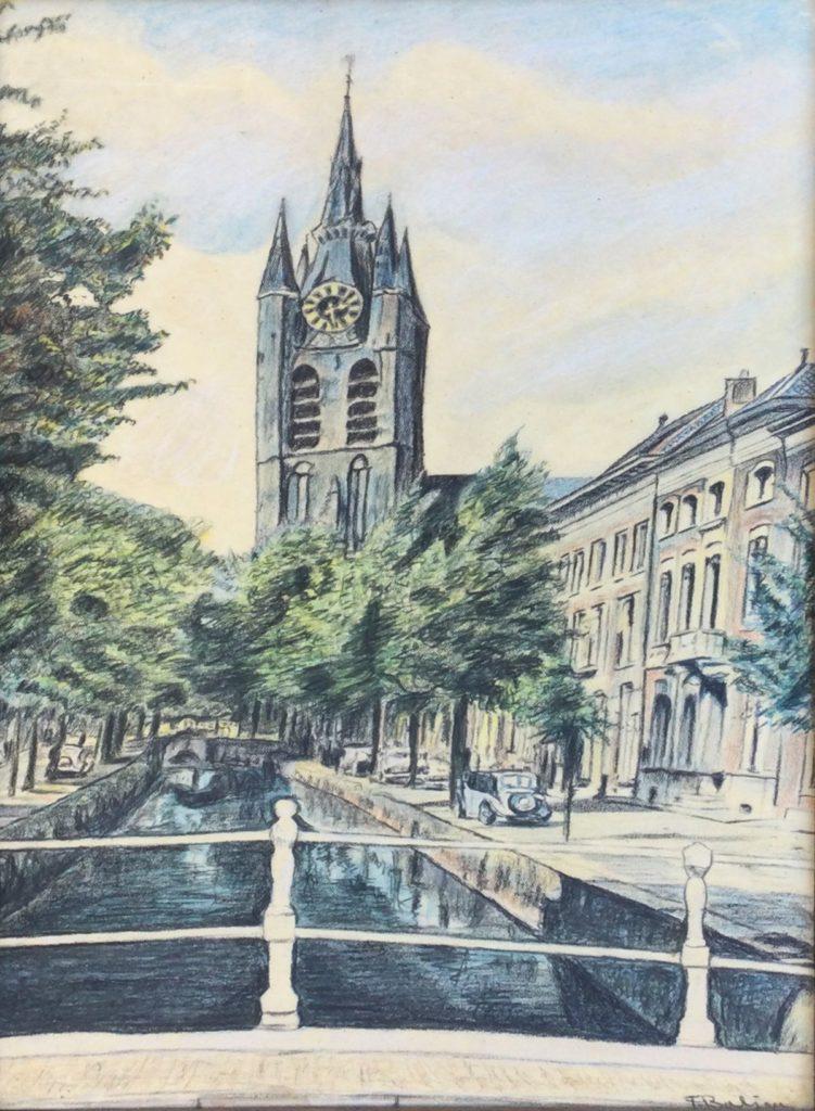 Kunst te koop bij Galerie Wijdemeren van kunstschilder F Baljon Stadsgracht met uitzicht op kerk pastel op papier, 38.5 x 23.5 cm rechtsonder gesigneerd