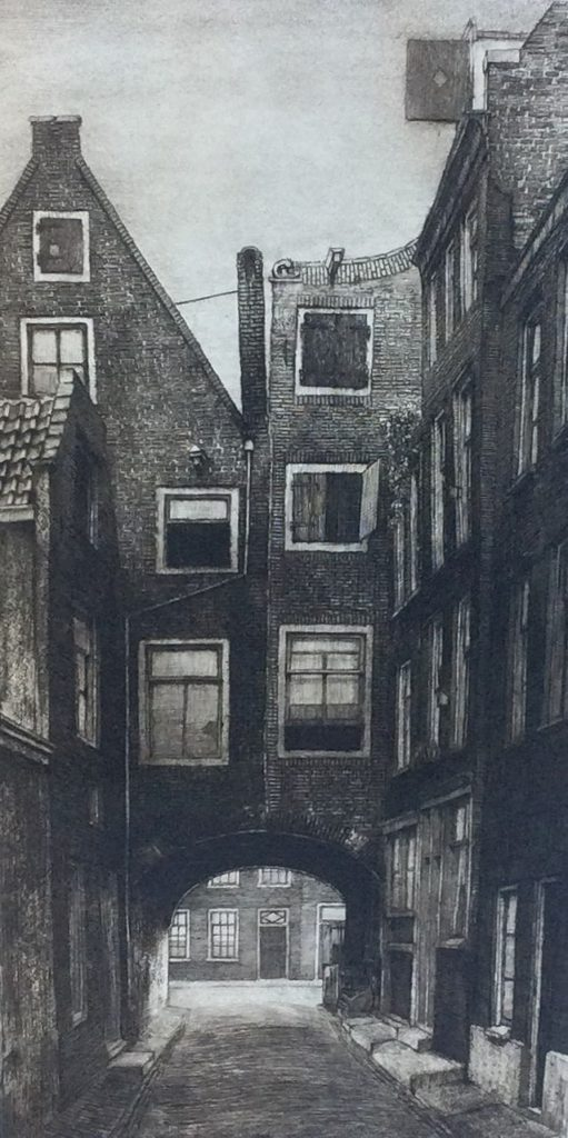 Kunst te koop bij Galerie Wijdemeren van onbekende kunstschilder, Scheltema en Holkema's boekhandel Amsterdam met Sint-Pieterspoort gezien vanaf Rokin naar de Nes ets, 32 x 16 cm rechtsonder handgesigneerd, nr. 82
