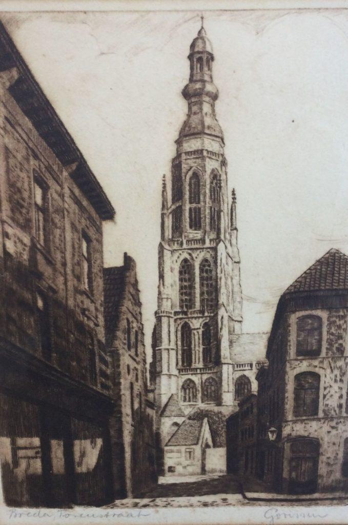 Kunst te koop bij Galerie Wijdemeren van kunstenaar Gooissen Breda Torenstraat ets, 21.5 x 15.5 cm rechtsonder handgesigneerd