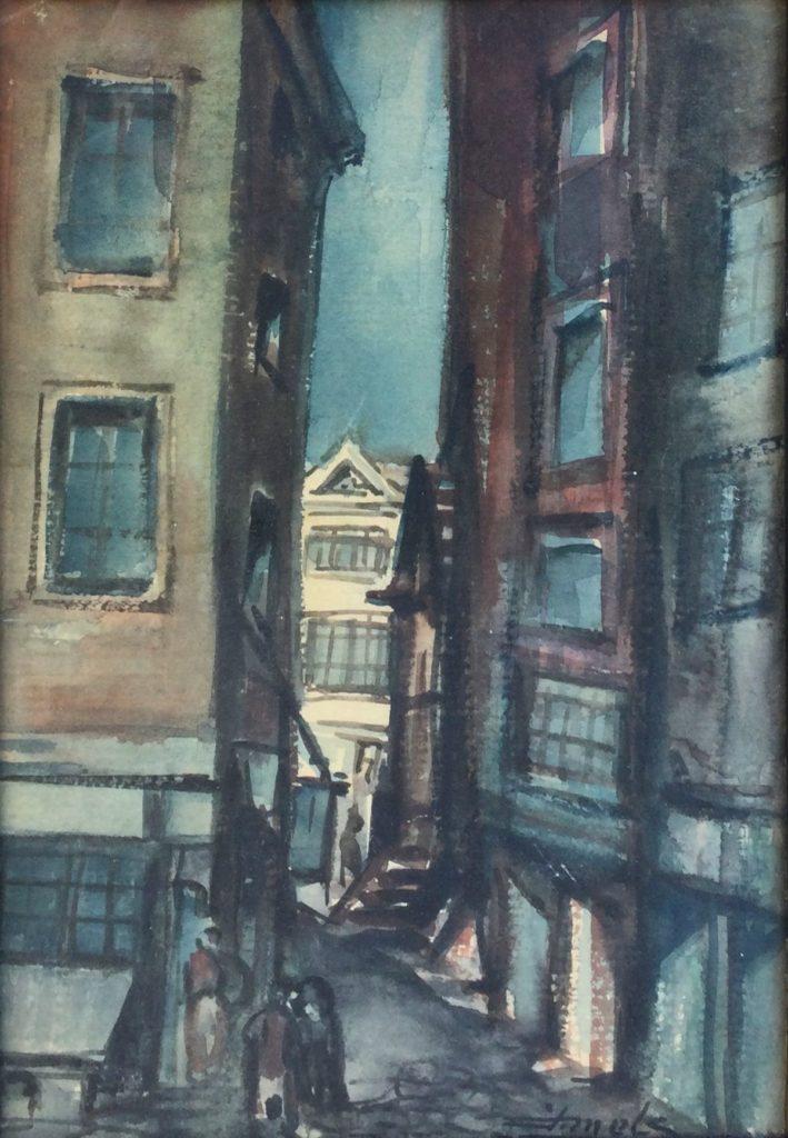 Kunst te koop bij Galerie Wijdemeren van kunstschilder J. Mels Stadsstraatje aquarel op papier, 26 x 17 cm rechtsonder gesigneerd