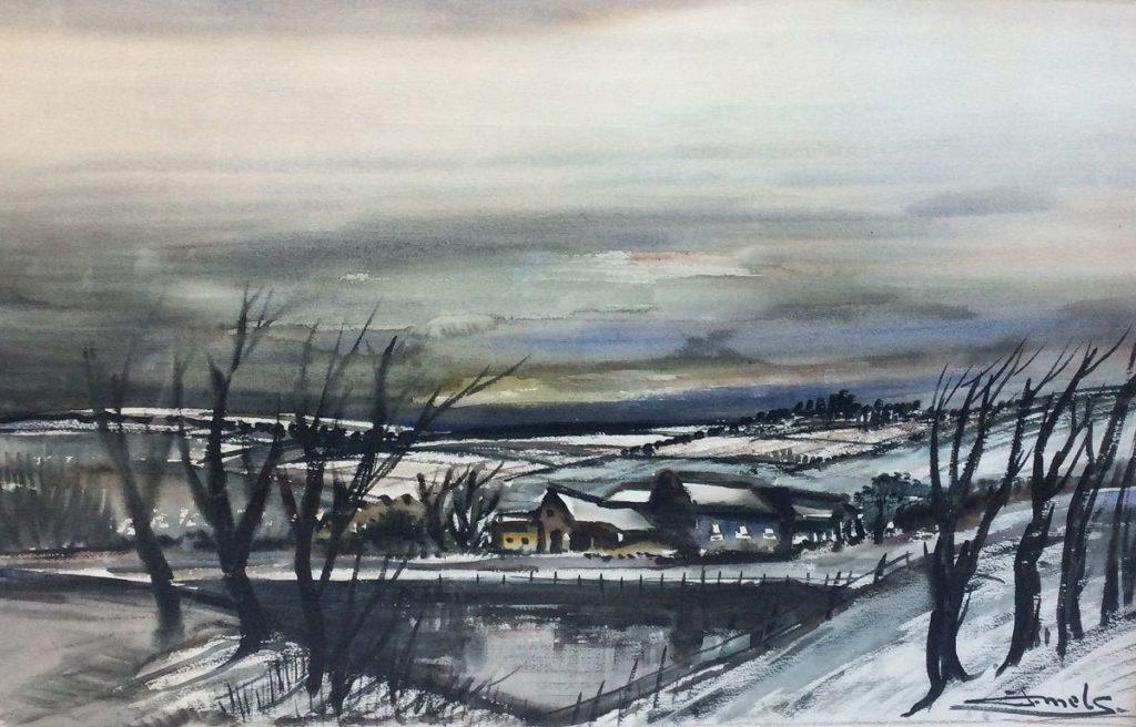 schilderijen te koop van kunstschilder, Jacques Mels winters dorpsgezicht aquarel, rechtsonder gesigneerd, expositie, galerie wijdemeren breukeleveen