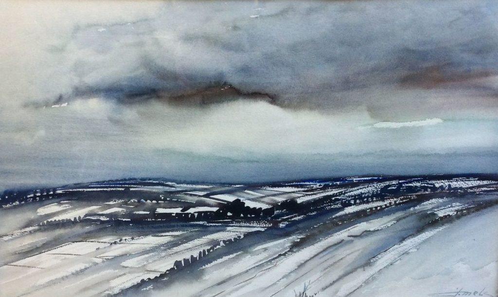 schilderijen te koop van kunstschilder, Jacques Mels winterlandschap aquarel, rechtsonder gesigneerd, expositie, galerie wijdemeren breukeleveen