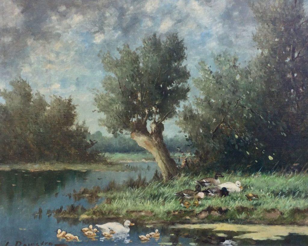 schilderijen te koop van kunstschilder, J. Damstra Eendenfamilie aan de waterkant olie op doek, linksonder gesigneerd, expositie, galerie wijdemeren breukeleveen