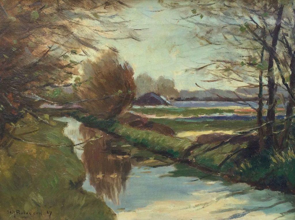 schilderijen te koop, Boerensloot in Polderlandschap olie op doek, l.o. gesigneerd, expositie, galerie wijdemeren breukeleveen