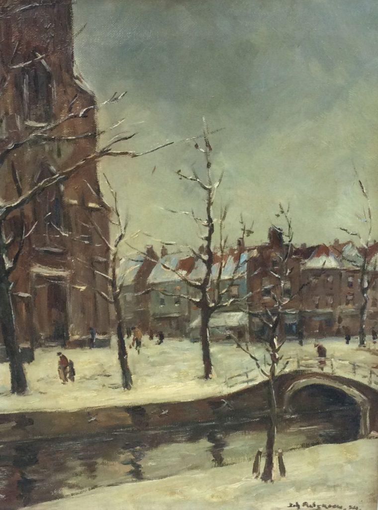 schilderijen te koop, winters stadsgezicht met figuren olieverf op doek rechtsonder gesigneerd en gedateerd, expositie, galerie wijdemeren breukeleveen